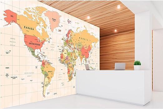 Fotomural Vinilo Pared Mapamundi Político Fondo Beige | Fotomural para Paredes | Mural | Vinilo Decorativo | Varias Medidas 150 x 100 cm | Decoración comedores, Salones, Habitaciones.: Amazon.es: Hogar