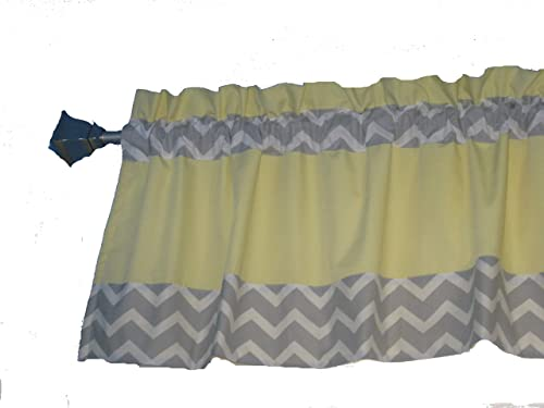Cotton Blend Lined 15 x 42 Handmade Gray White Chevron Trim on Solid Lemon Yellow Window Valance