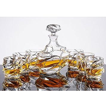 Juego de vasos de whisky de cristal sin plomo, vasos de vino, botellas de