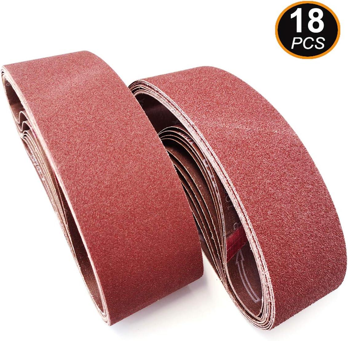 12-Pack Aiyard 4 x 24-Inch Aluminum Oxide Sanding Belts 40//80//120//150//240//400 Assorted Grits Abrasive Belts for Belt Sander