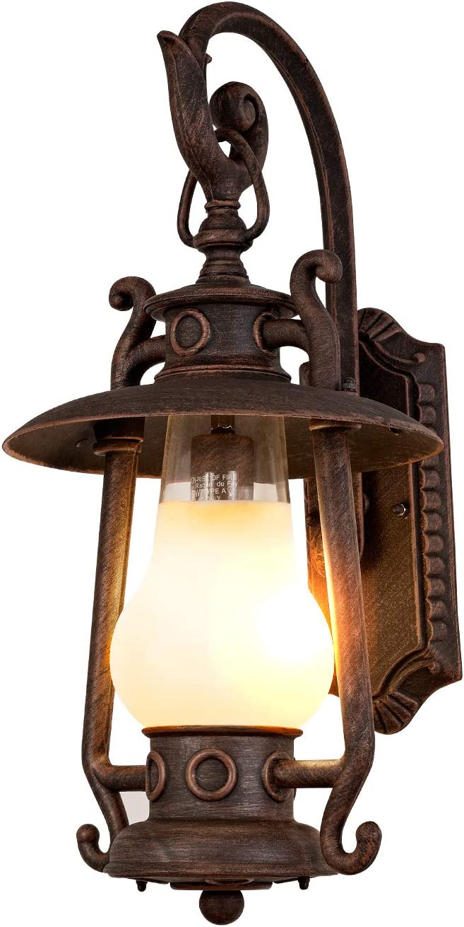 GZBtech Rustic Outdoor Wall Lantern Sconce, Exterior Vintage Oil Rubbed  Bronze Large Wall Lighting Fixture with Frosted Shade, 19V Waterproof