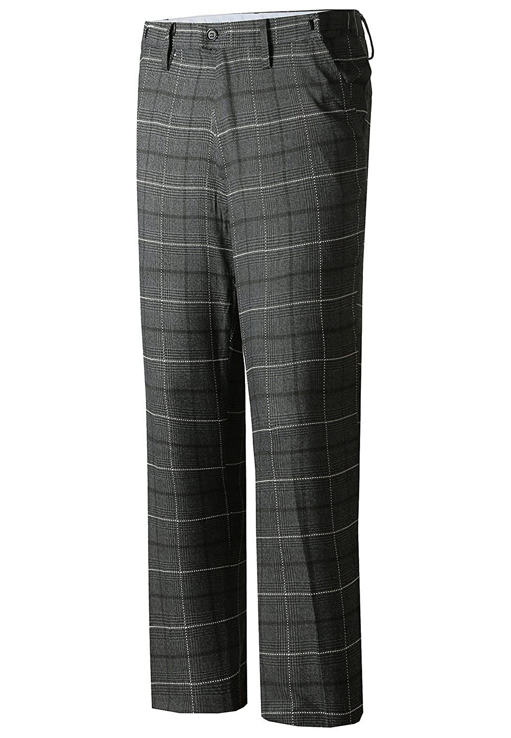 Hanayome Men's Plaid Modern Fit Flat Front Pattern Dress Pant Separate Trousers