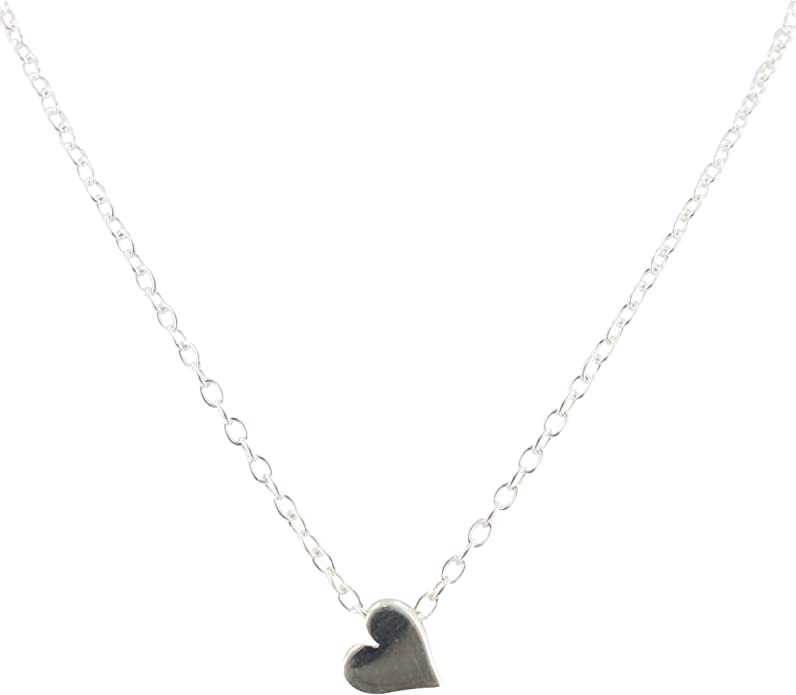 small charm necklace silver color matte gold heart pendant ZOEY volume heart charm necklace free gift package and card simple