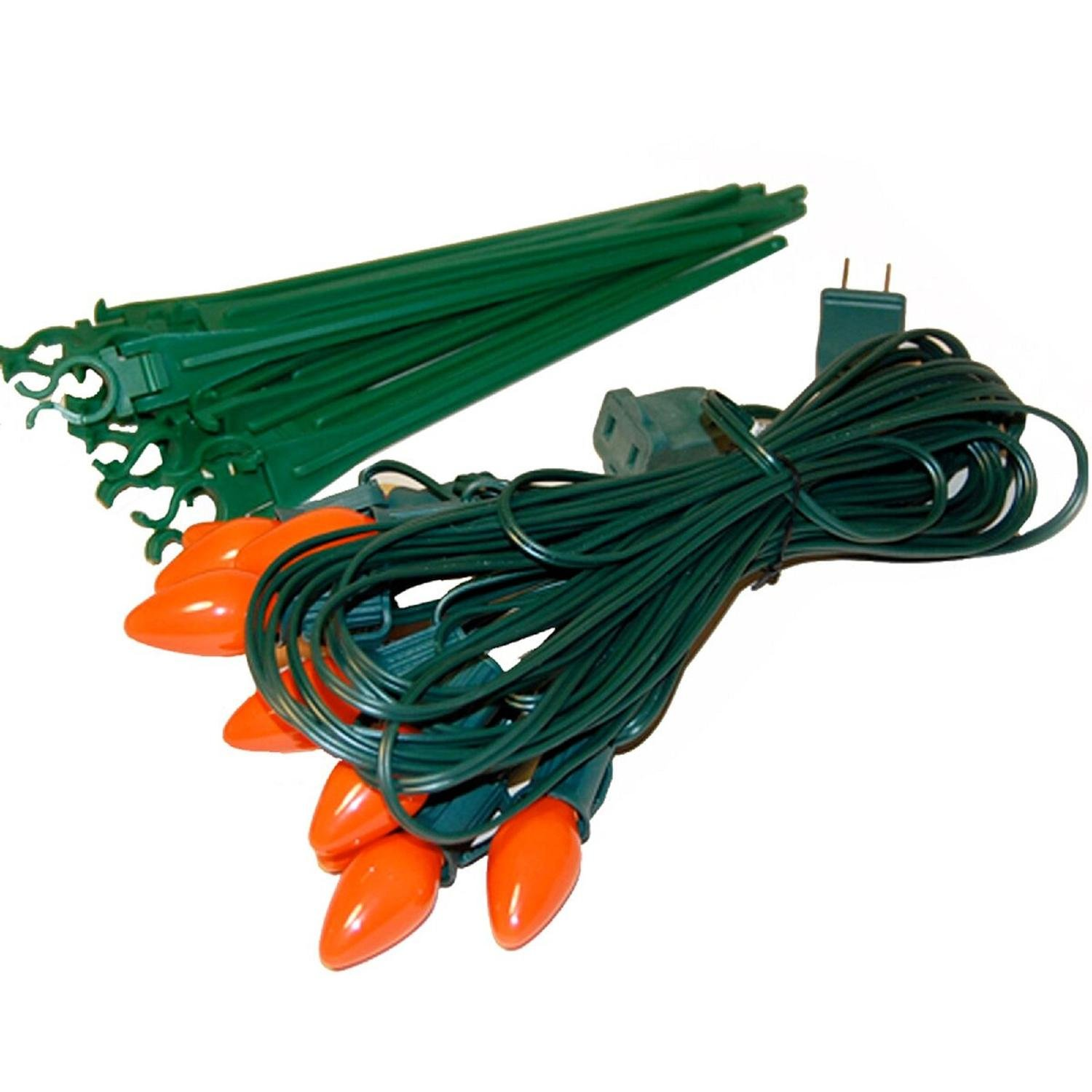 CC Home Furnishings Set of 10 Bright Orange C7 Halloween Pathway Marker Lawn Stakes - Green Wire