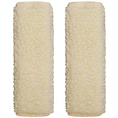 Sojoy 1 Pair of Simulated Sheepskin Seat Belt Shoulder Pads (Beige & Cream): Automotive