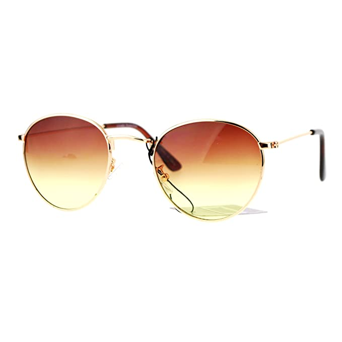 Gold Round Oval Frame Sunglasses Ombre Gradient Brown Yellow Lens UV 400