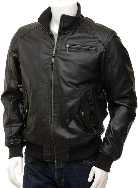 1510467 Lasumisura Mens Black Genuine Lambskin Leather Jacket