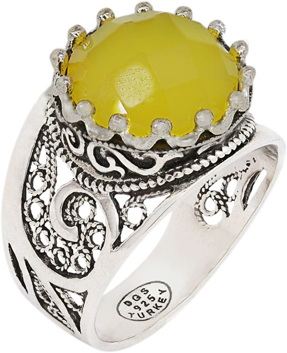 Size 5-12 925 Sterling Silver Yellow Agate Filigree Paisley Ring
