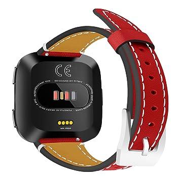 Ruentech Correa de piel de repuesto para reloj inteligente Fitbit Versa, rojo