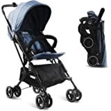 Kidsclub Stroller Airplane Stroller, Lightweight Compact Stroller for Toddler, One Button Foldable Stroller for 0-3 Y, Baby S