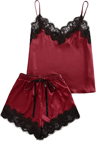 MAKEMECHIC Womens Lace Satin Sleepwear Cami Top and Shorts Pajama Set