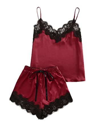 4af2c6cde376 MAKEMECHIC Women s Lace Satin Sleepwear Cami Top and Shorts Pajama Set  Burgundy XS