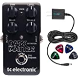 TC Electronic Dark Matter Distortion Pedal –INCLUDES– Blucoil Power Supply Slim AC/DC Adapter for 9V-DC 670mA with US Plug AND Blucoil Guitar Picks