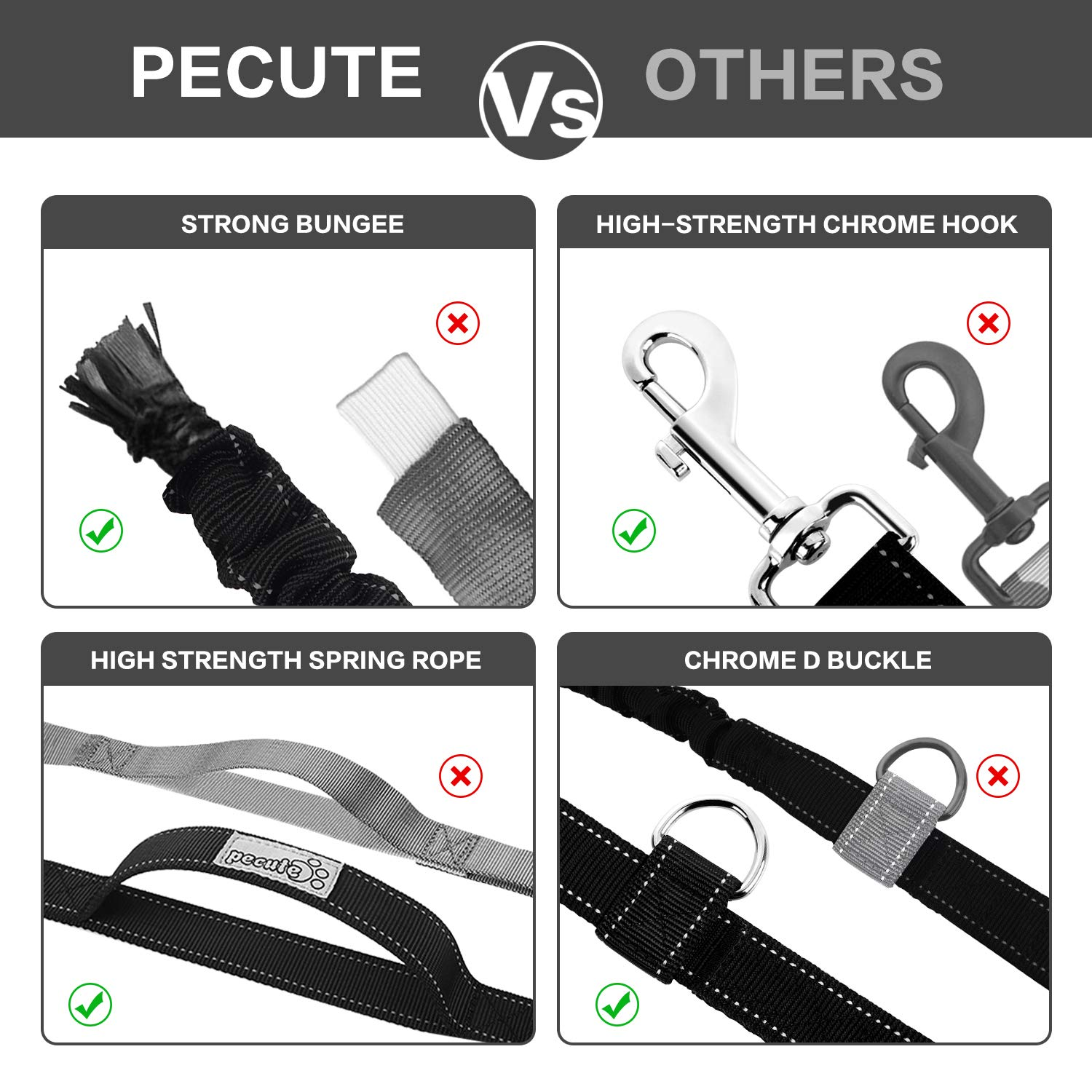 Pecute Hands Free Dog Leads with Waist Bag Strong Bungee Duralble Luminous Reflective Leash for Running Walking Hiking Medium to Large Dogs