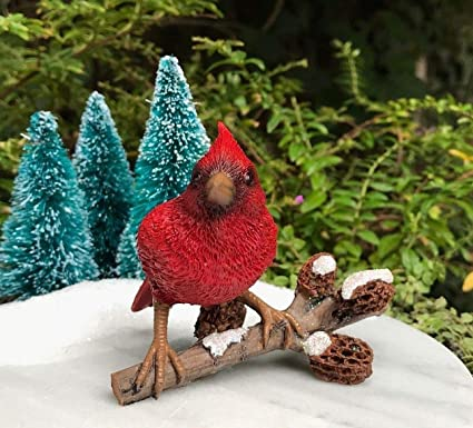 Miniature Dollhouse FAIRY GARDEN ~ Mini Cardinals Birds on Branch ~ NEW