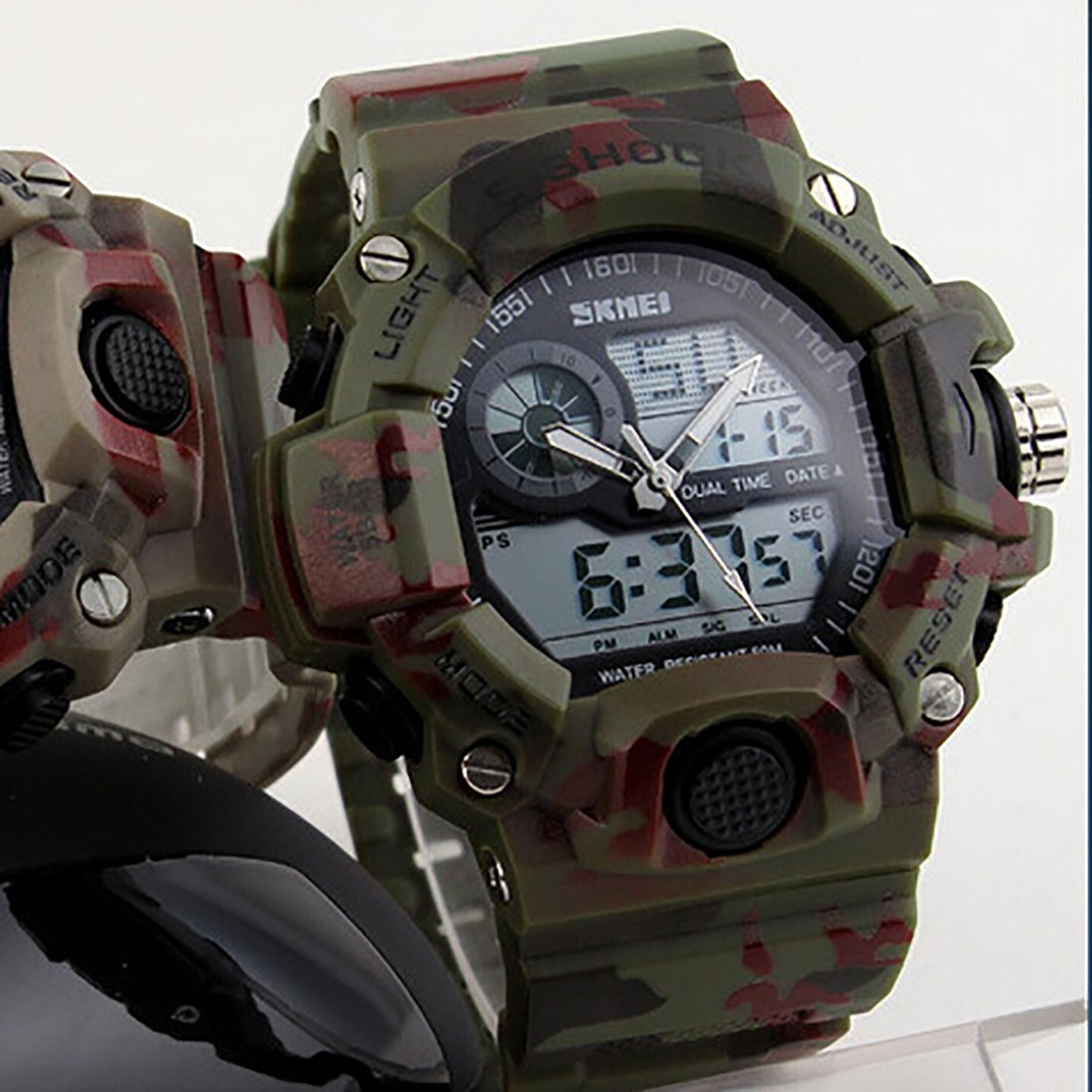Amazon.com: Quartz Digital Camo Waterproof Watch Men Dual Time Man Sports Watches Men Luxury Reloj Hombre Bright Green: Watches
