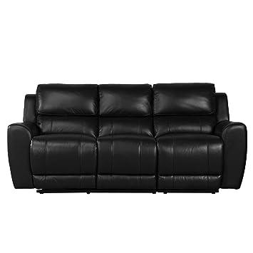 Debenhams negro piel Corsica 3 plazas sillón reclinable y ...