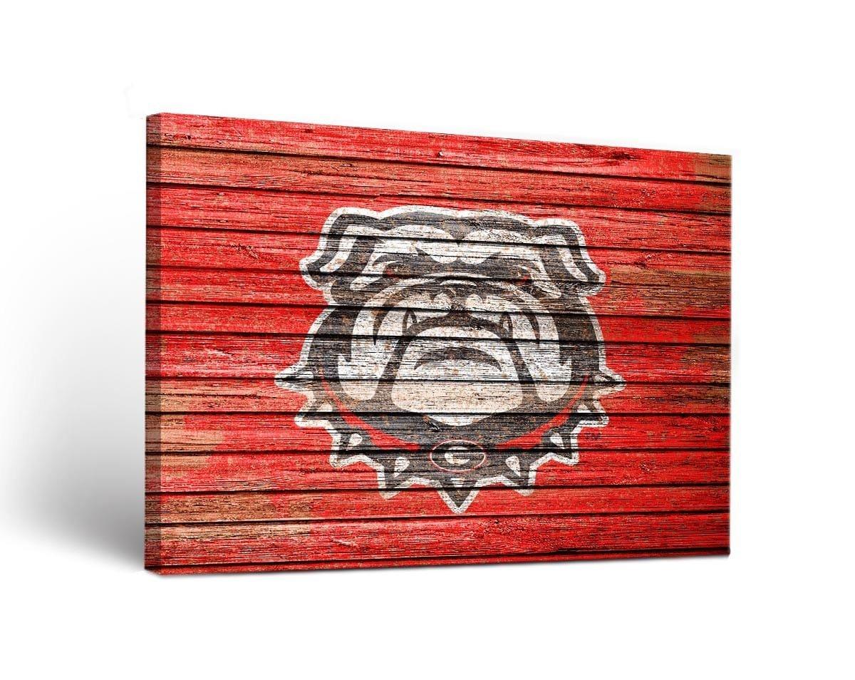 Victory Tailgate Georgia Bulldogs Canvas Wall Art Weathered Design 1 (18x24)