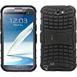 Heartly Flip Kick Stand Hard Dual Armor Hybrid Rugged Bumper Back Case Cover For Samsung Galaxy Note 2 N7100 - Rugged Black