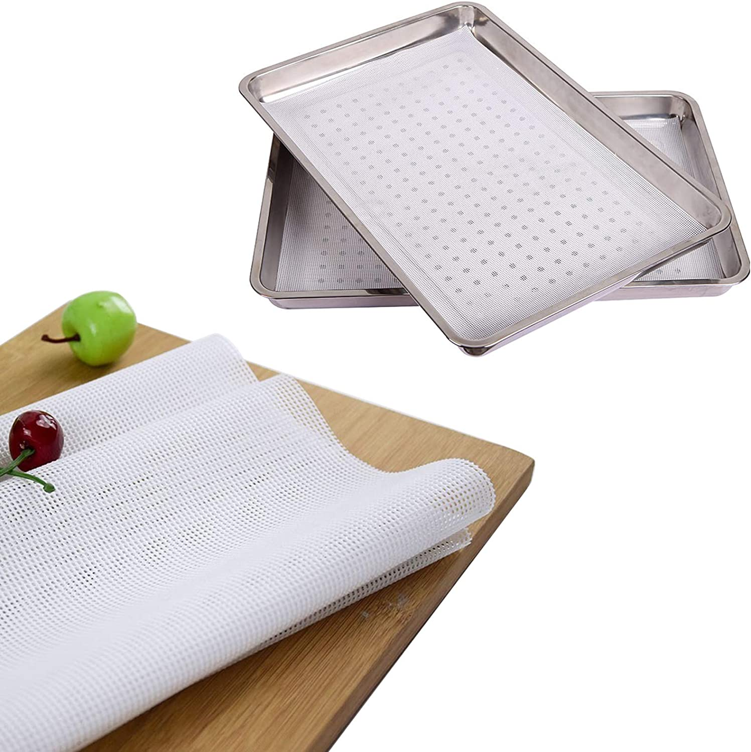 Pack of 6 Dehydrators for Food and Jerky, Silicone Food Dehydrator Sheets, Premium Freeze Dryer Mesh, Non-stick Fruit Dehydrator Mats, Reusable Food Dehydrator Sheets Dryer Mesh