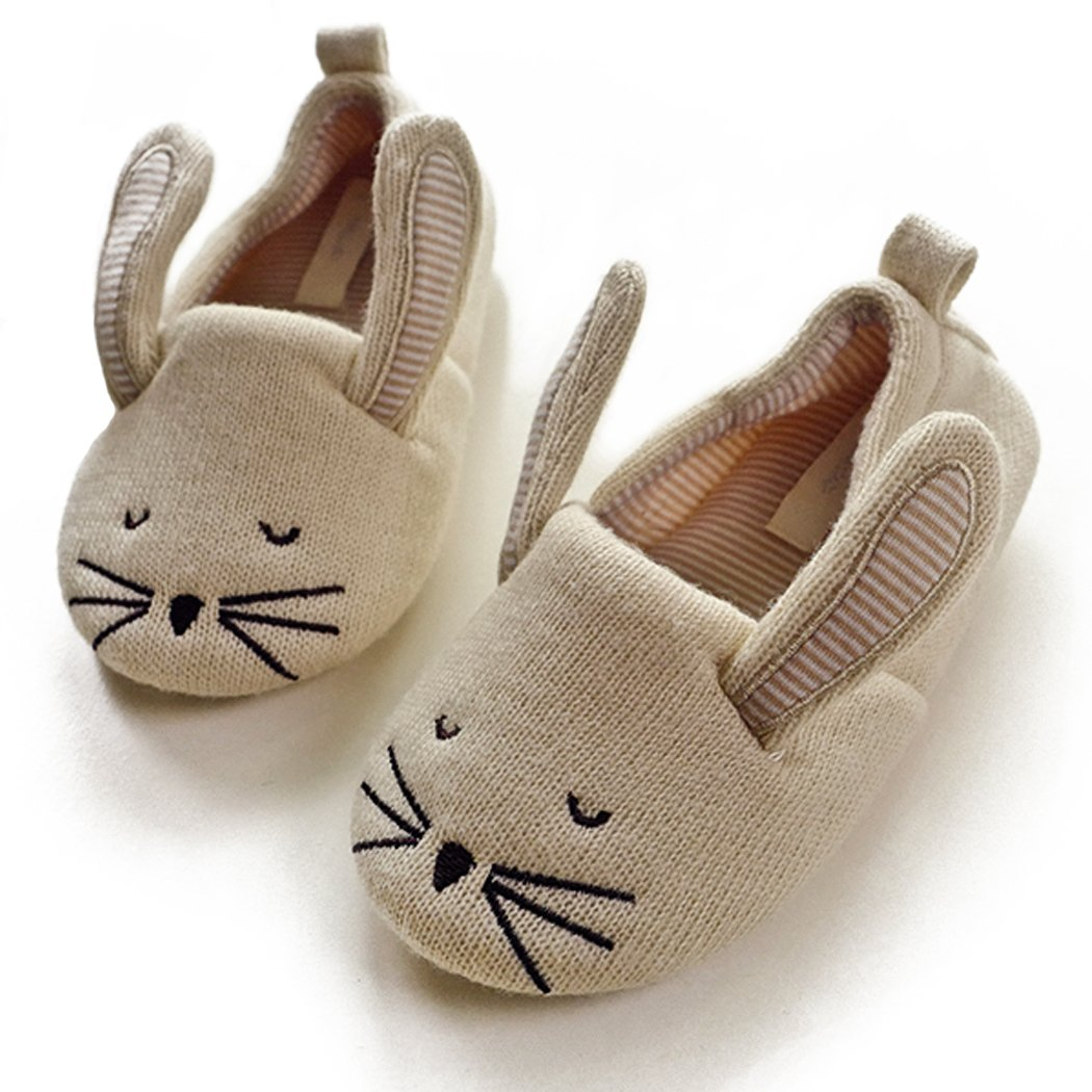 Kids' Cute Mouse Cotton Memory Foam House Slippers w/Long Ear (9 M US Toddler, Beige)
