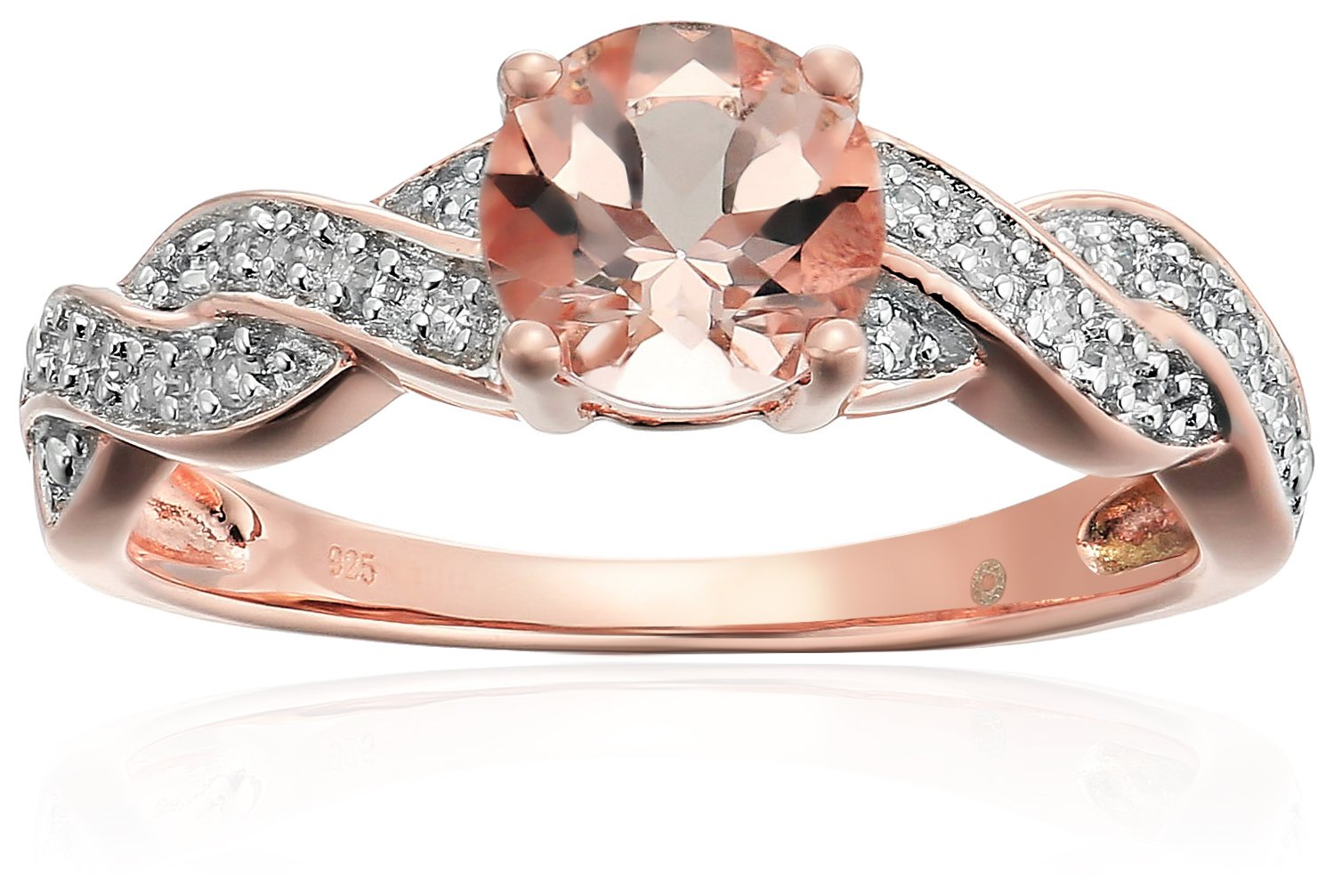 Rose Gold-plated Silver Morganite And Diamond Twisted Shank Engagement Ring (1/10 cttw, H-I Color, I1-I2 Clarity), Size 7