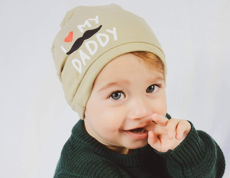 Beige Baby Cotton Beanie Hat Newborn Gift I Love My Daddy