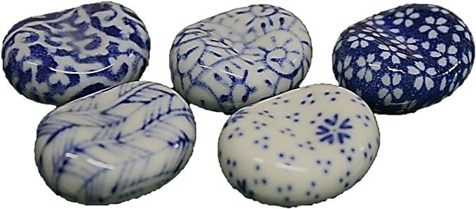 Japanese Ceramic Blue Dog Chopstick Rest Spoon Fork Holders Made in Japan 2 PCS