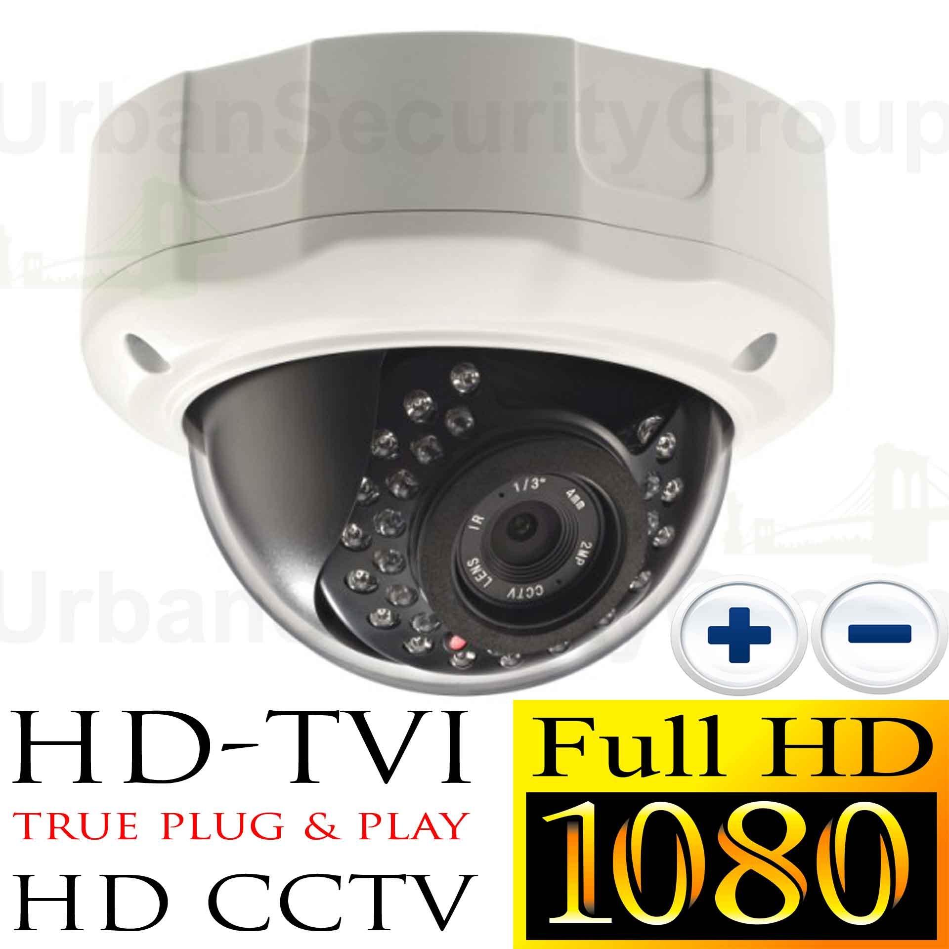 USG Business Grade 1080P 2MP High Definition CCTV Dome Security Camera : MOTORIZED 2.8-12mm Vari-focal Lens : Auto-Focus, 1920x1080 HD Resolution, 30x IR LEDs, IR-Cut, WDR, Motion Detection, SONY Chip