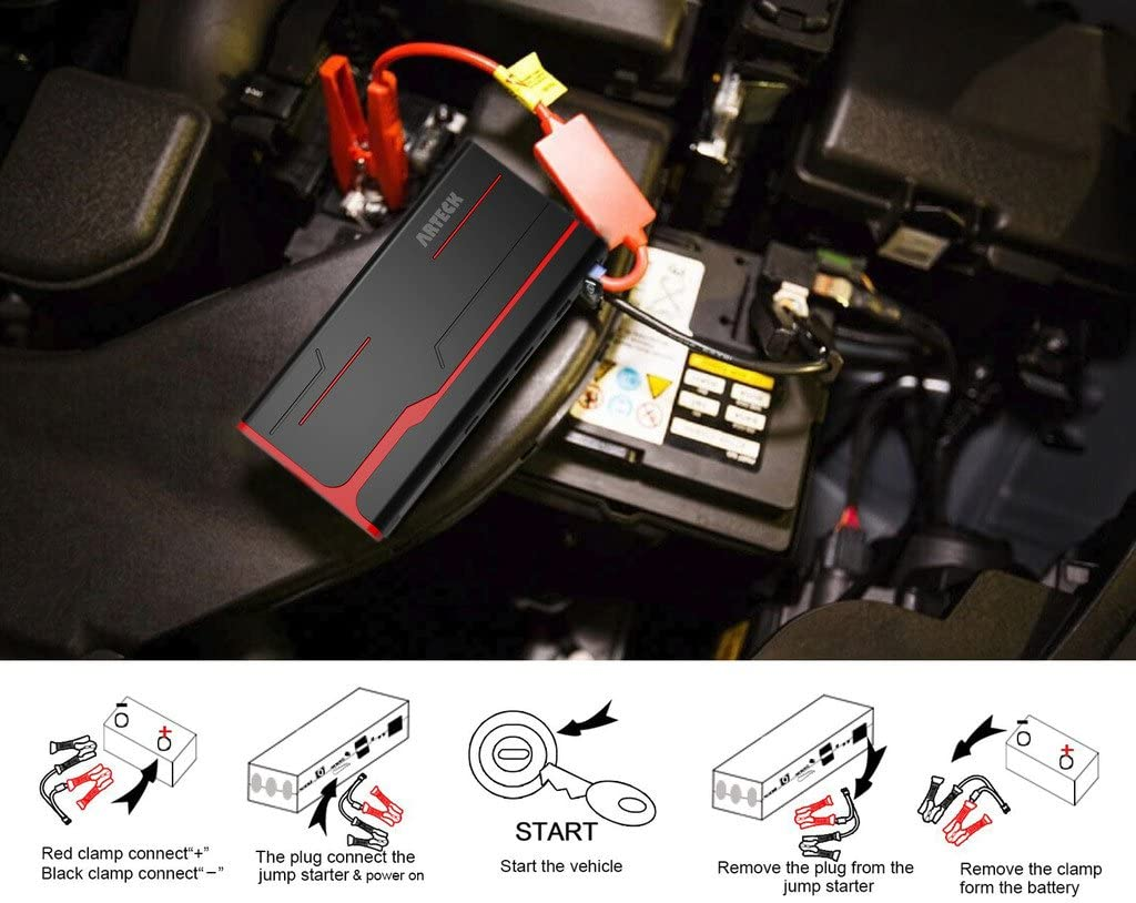 Arteck 800A Peak 18000mAh Car Jump Starter up to 7.0L Gas, 5.5L Diesel engine with LCD Screen 12V Auto Battery Booster USB Quick Charge Portable Power Pack with Built-in LED light