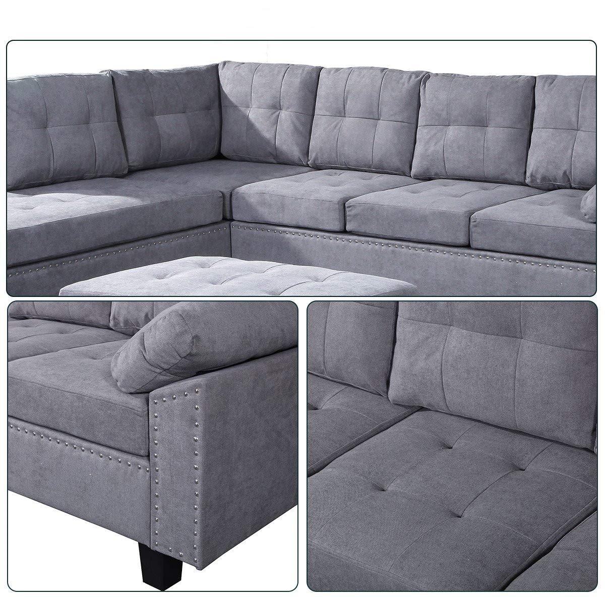 Amazon.com: Merax - Sofá de 3 piezas con chaise longue y ...