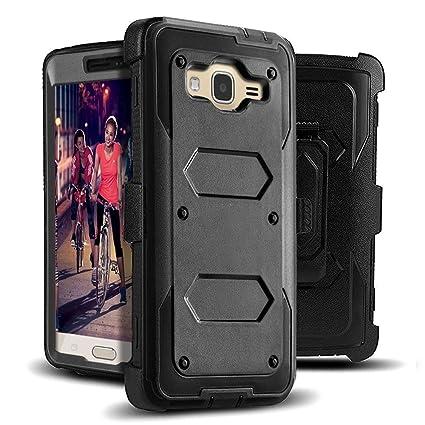 J west Galaxy J3 Case, J3 (2016) Case, Shock Absorption Full Body Rugged  Hybrid Armor Stand Holster Belt Clip Defender Cover for J3, J3 (2016), J3  V,
