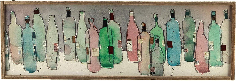 Parisloft Wine Sign Decor, Colorful Bottle Printing Wall Art|Wooden Framed Farmhouse Plaque for Office,Bar,Shop,Home Decor
