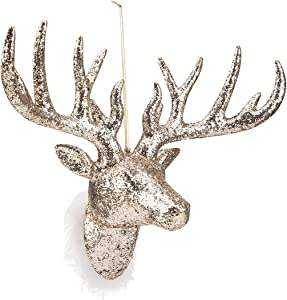 ARCCI Glitter Reindeer Head Champagne Gold Faux Deer Head Wall Decor - Handmade Animal Head for Home Bar Office Holiday Decoration