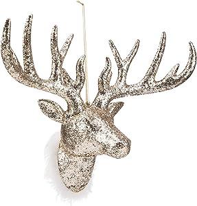 ARCCI Glitter Reindeer Head Champagne Gold Faux Deer Head Wall Decor - Handmade Animal Head for Home Bar Office Holiday Decoration