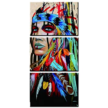 YuAn Art 3 Pcs American Indian HD Printed on Canvas Painting Feathered Wall Art Pictures Unframed,only Canvas