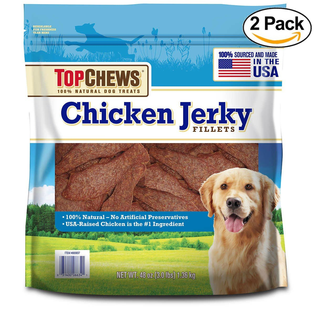 Top Chews Chicken Jerky Fillets 100% Natural Dog Treats, Made in the US - 2 Pck (3 lbs)