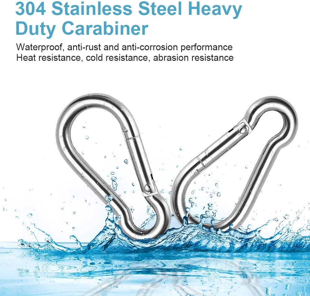 304 Stainless Steel Locking Carabiner Heavy Duty Spring Snap Hook Small 3 Inch//2 Inch for Outdoor Climbing Hammock Keys 5 Pack Hiking Chriffer Caribeener Clips Swing Set