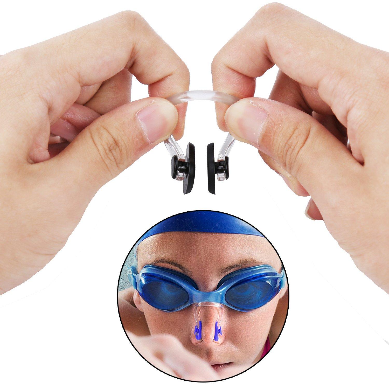 10 Couleurs SAVITA Pince-Nez de Natation avec Gel de Silice Imperm/éable pour Les Enfants et Les Adultes Paquet de Bo/îte Multicolore