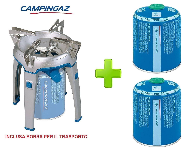 Kompakte Kochstelle für Reisen und Camping, Bivouac-Modell Campingaz mit Tragetasche - Mit Schutzhülle für den Transport + 2 Gaskartuschen CV470 à 450 g.