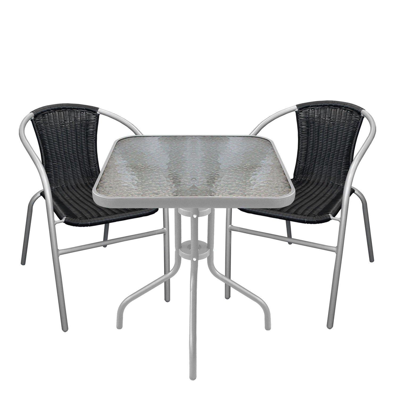 Multistore 2002 3tlg. Bistromöbel Bistrotisch mit geriffelter Tischglasplatte Glastisch Gartentisch 60x60cm Stapelstuhl Gartenstuhl mit Poly-Rattanbespannung Schwarz Grau