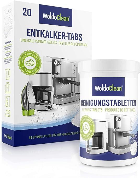 woldo Clean descalcificador de pastillas y pastillas de limpieza para cafeteras automáticas 20x Entkalkertabletten / 150x Reinigungstabletten: Amazon.es: Hogar