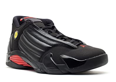 online retailer 573ae 294f0 Image Unavailable. Image not available for. Color  Nike Mens Air Jordan 14  Retro Last Shot Black Varsity Red-Black Leather Basketball