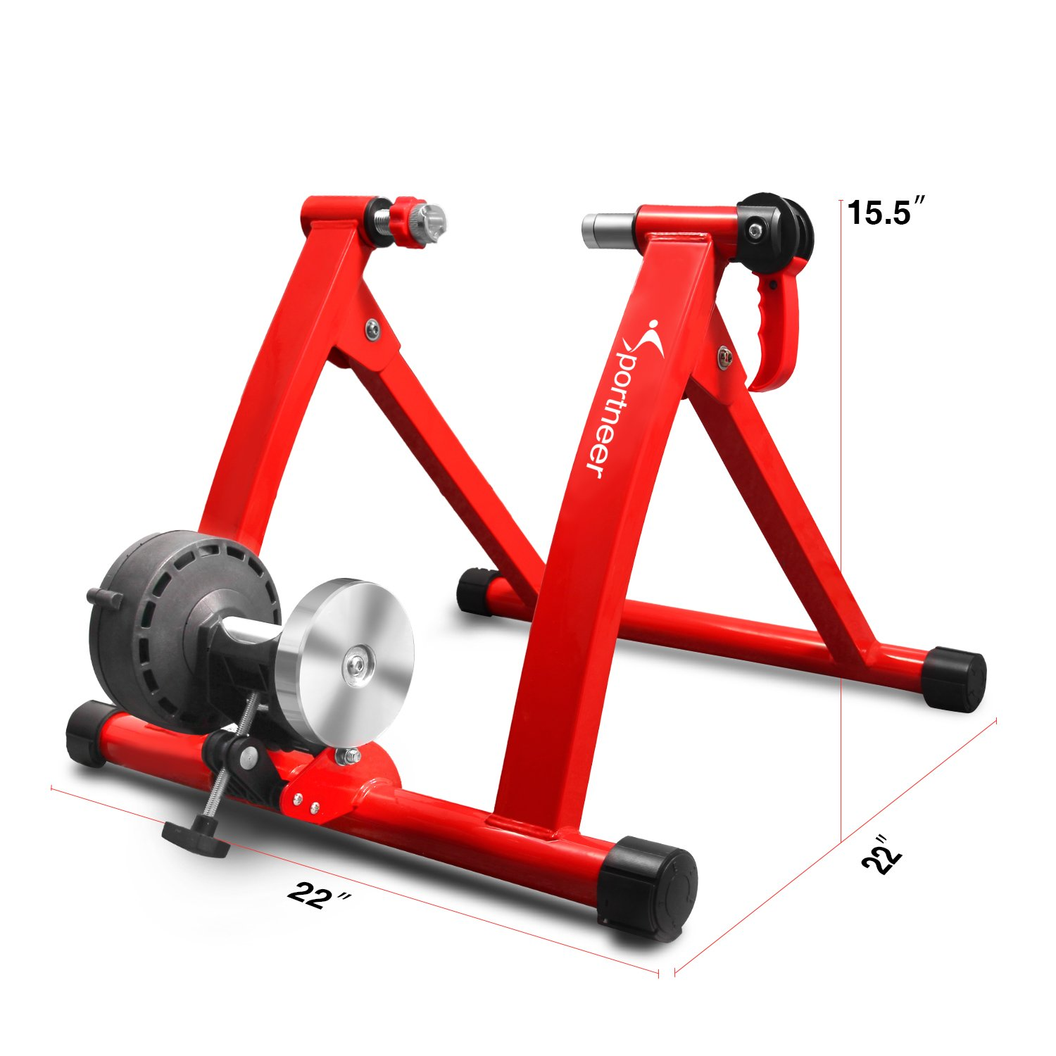 Sportneer Bike Trainer Stand Steel Bicycle Exercise Magnetic Stand with Noise Reduction Wheel, Red by Sportneer (Image #8)