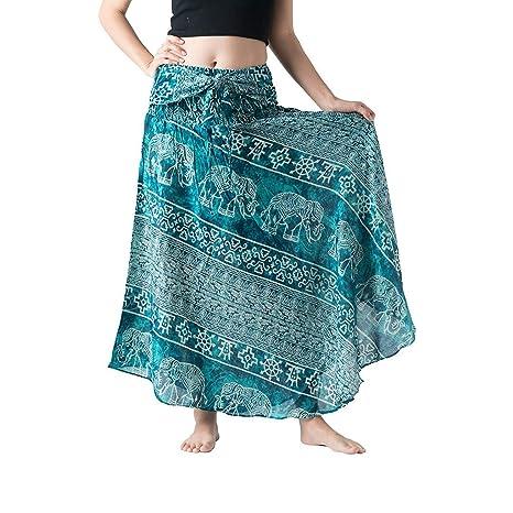 Dasongff 2 en 1 falda larga hippie bohemio zigeuner boho flores ...