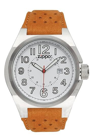 Zippo Casual - Reloj (Reloj de pulsera, Masculino, Plata, Blanco, Cuero