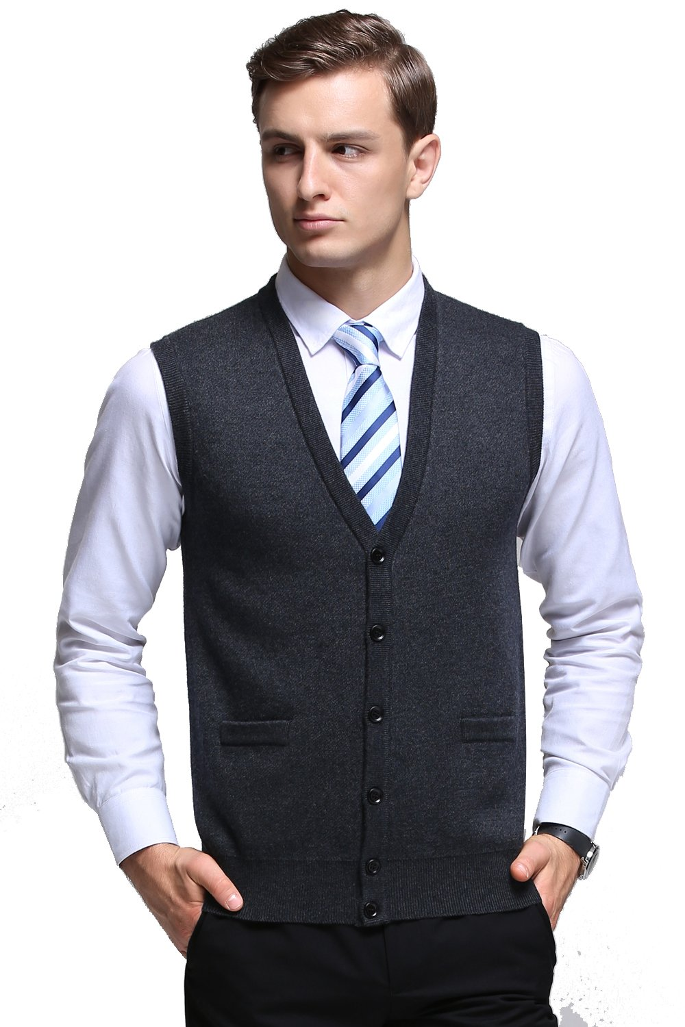 Kinlonsair Mens Slim Fit Ribbed Knit Cardigan Sweater Vest with Pockets (X-Large, ZKSM852-dark Gray)