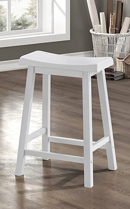 Amazoncom White 24h Saddle Seat Bar Stools Set Of 2 Kitchen