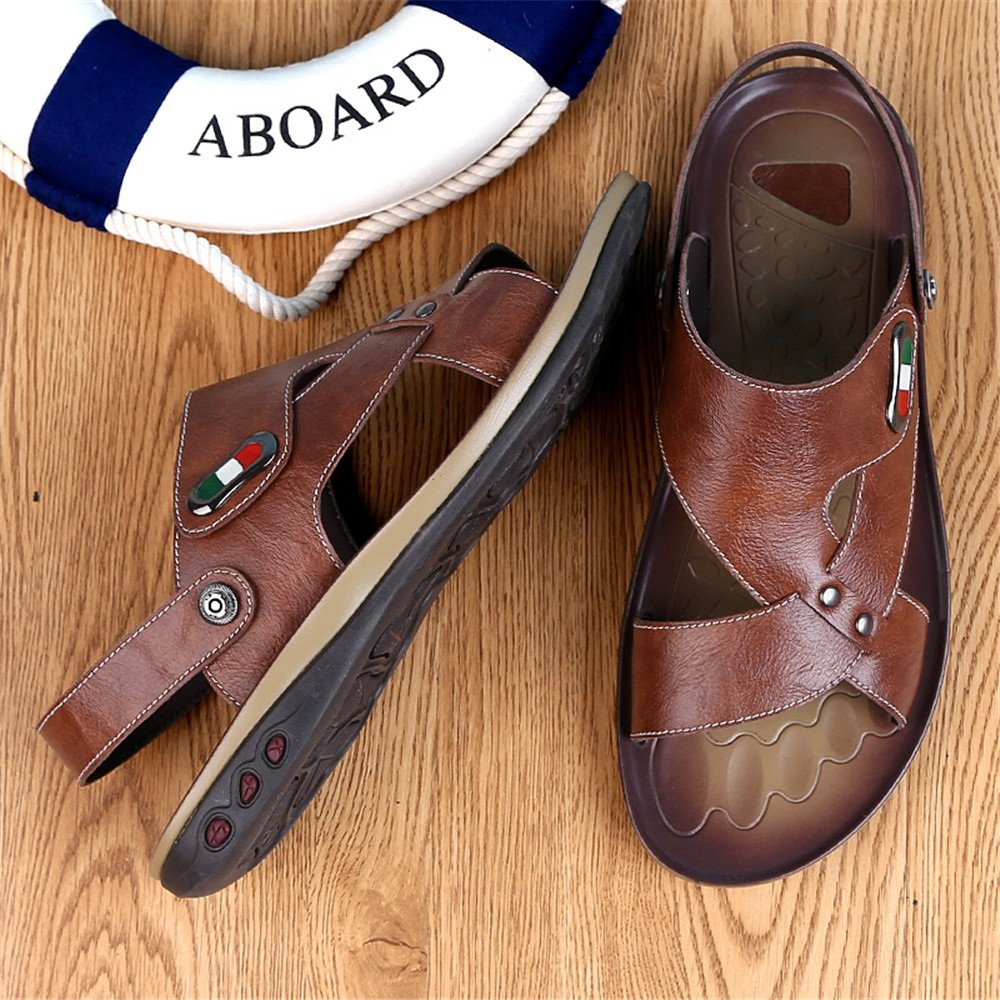 Herren Sandale, Herren Casual Echtes Echtes Echtes Rindsleder Strand Hausschuhe Rutschfeste Sandalen Schuhe Einstellbare Backless (Farbe : Braun, Größe : 44 EU) Braun 2f28a2