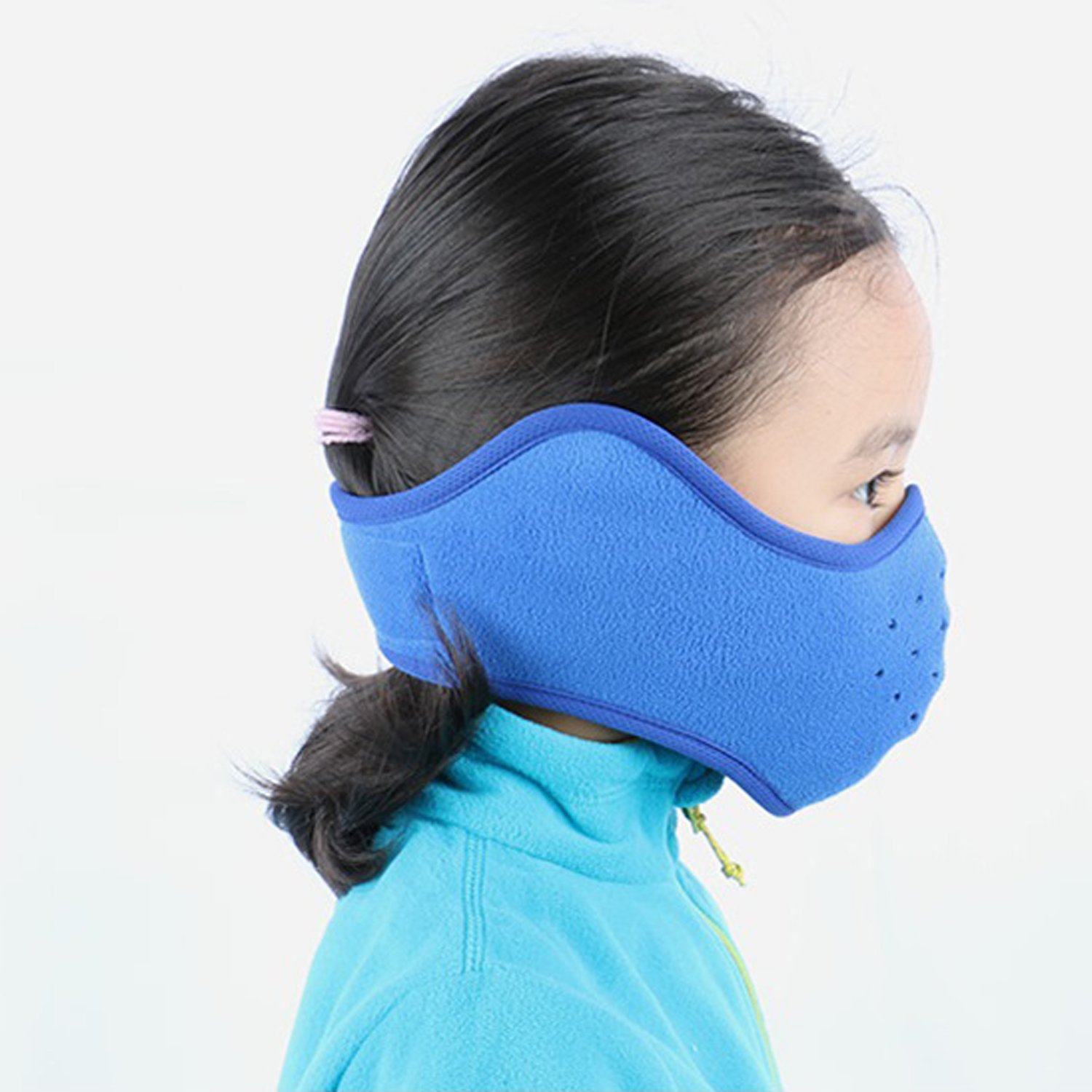 MIFULGOO Kids Reversible Fleece Half Ski Face Mask Winter Ear Warmer Vent Hole